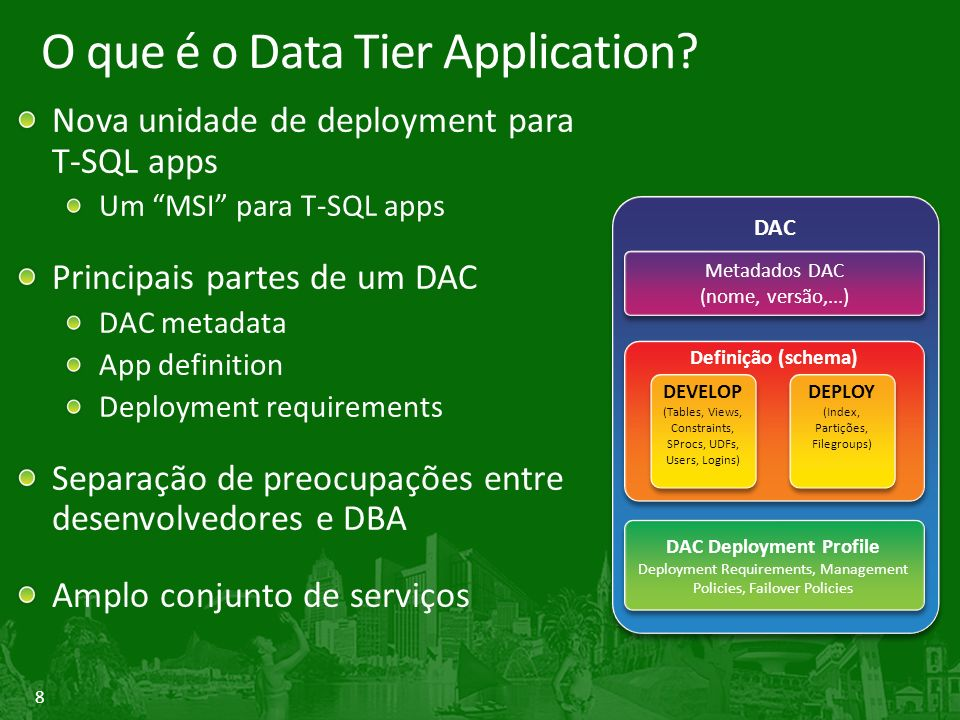 8 O que é o Data Tier Application.