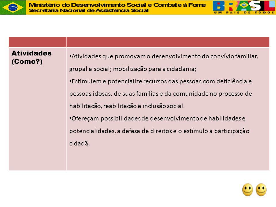 Atividades (Como?) Atividades que promovam o desenvolvimento do convívio familiar, grupal e social; mobilização para a cidadania; Estimulem e potencia