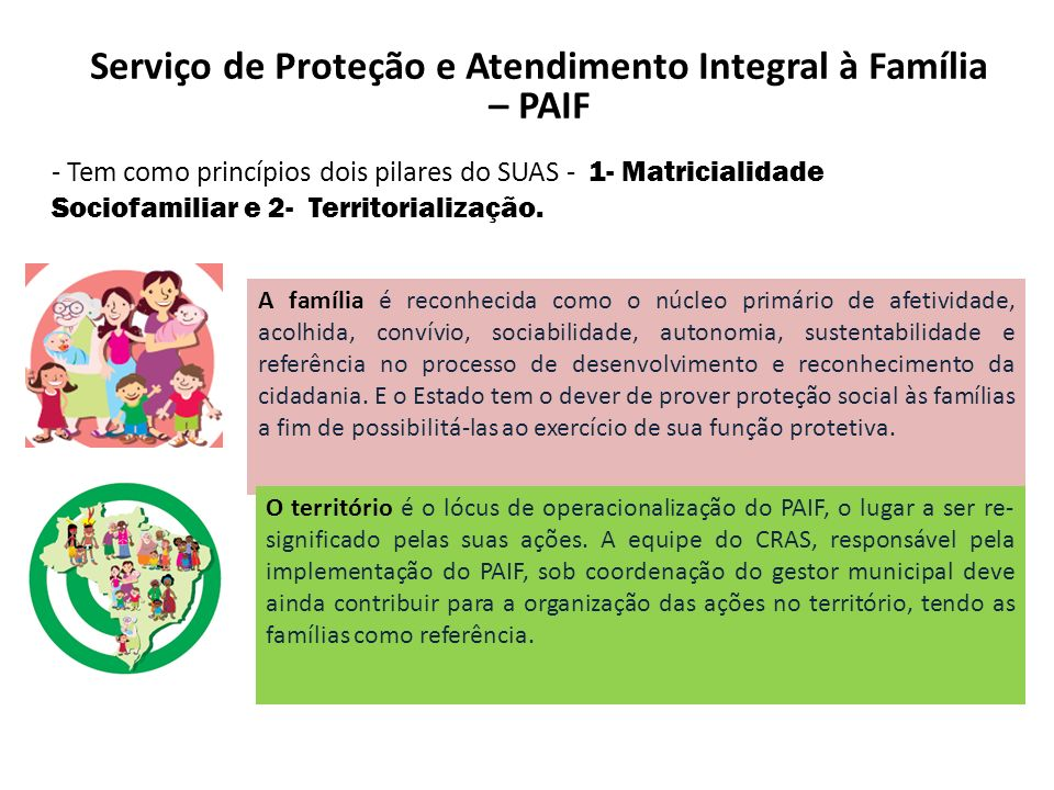 Serviço de Proteção e Atendimento Integral à Família – PAIF - Tem como princípios dois pilares do SUAS - 1- Matricialidade Sociofamiliar e 2- Territor