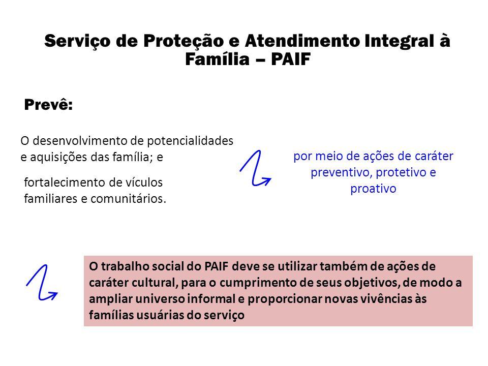 por meio de ações de caráter preventivo, protetivo e proativo Serviço de Proteção e Atendimento Integral à Família – PAIF O desenvolvimento de potenci