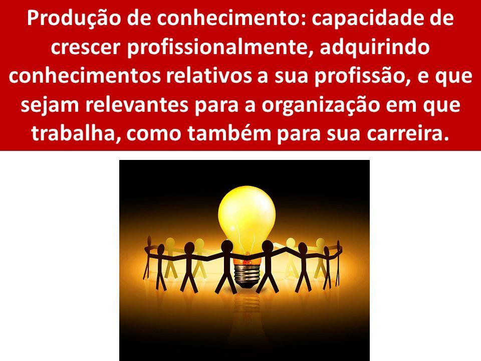 Produção de conhecimento: capacidade de crescer profissionalmente, adquirindo conhecimentos relativos a sua profissão, e que sejam relevantes para a o