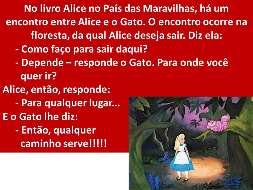 No livro Alice no País das Maravilhas, há um encontro entre Alice e o Gato. O encontro ocorre na floresta, da qual Alice deseja sair. Diz ela: - Como