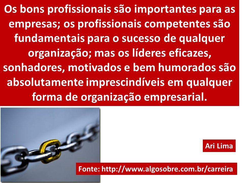 Os bons profissionais são importantes para as empresas; os profissionais competentes são fundamentais para o sucesso de qualquer organização; mas os l