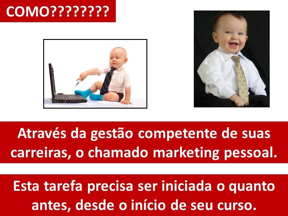 Através da gestão competente de suas carreiras, o chamado marketing pessoal. COMO???????? Esta tarefa precisa ser iniciada o quanto antes, desde o iní