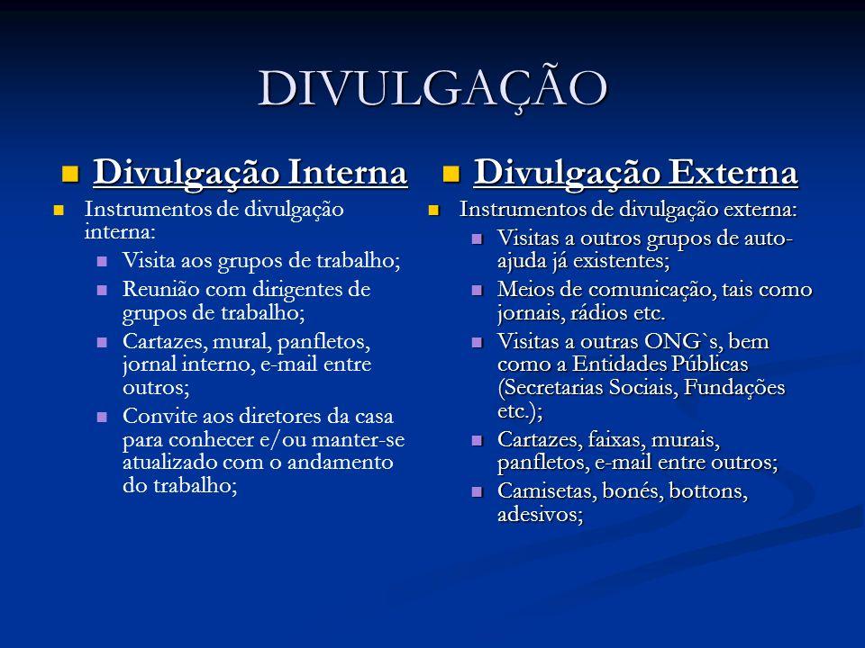 DIVULGAÇÃO Divulgação Interna Divulgação Interna Instrumentos de divulgação interna: Visita aos grupos de trabalho; Reunião com dirigentes de grupos d