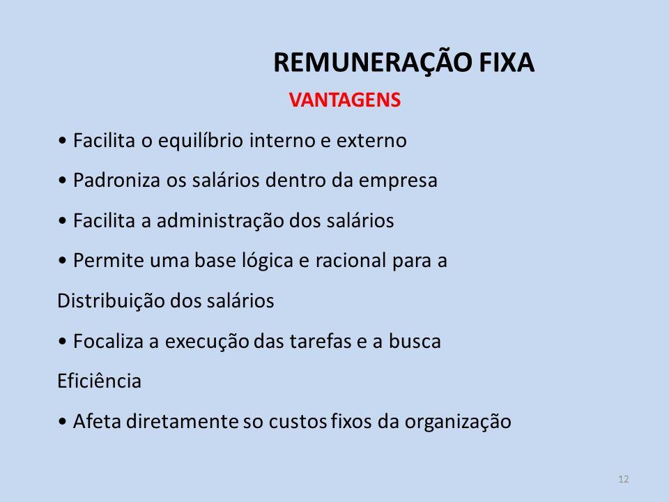 12 REMUNERAÇÃO FIXA VANTAGENS Facilita o equilíbrio interno e externo Padroniza os salários dentro da empresa Facilita a administração dos salários Pe