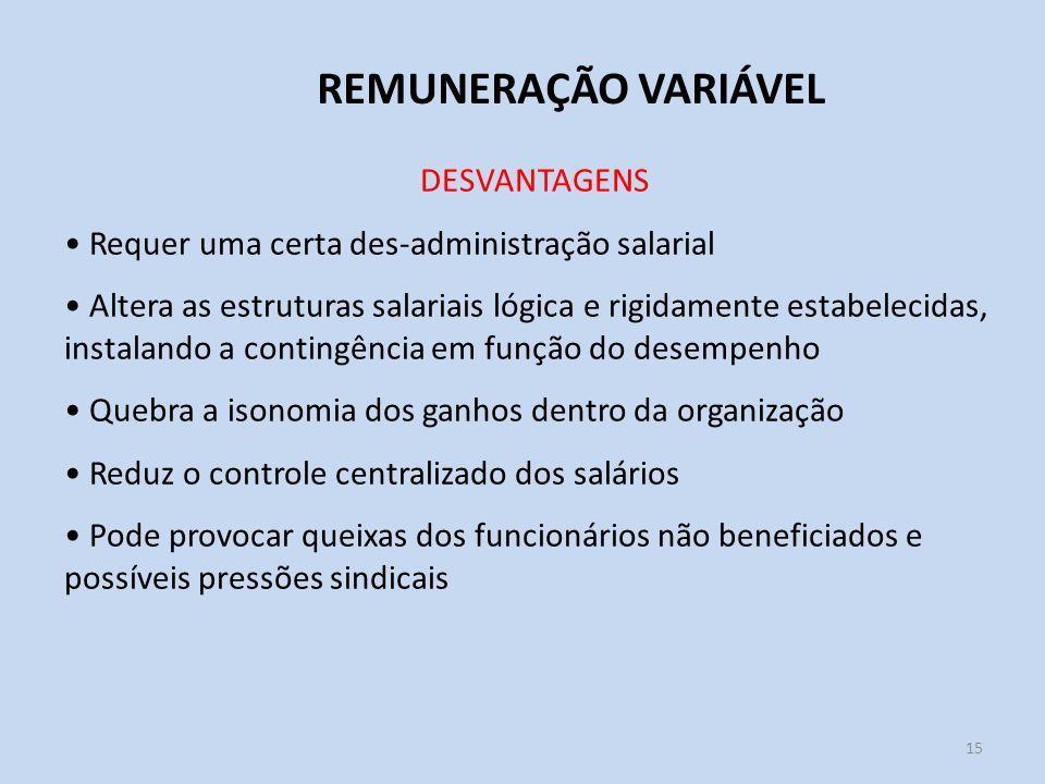 15 REMUNERAÇÃO VARIÁVEL DESVANTAGENS Requer uma certa des-administração salarial Altera as estruturas salariais lógica e rigidamente estabelecidas, in
