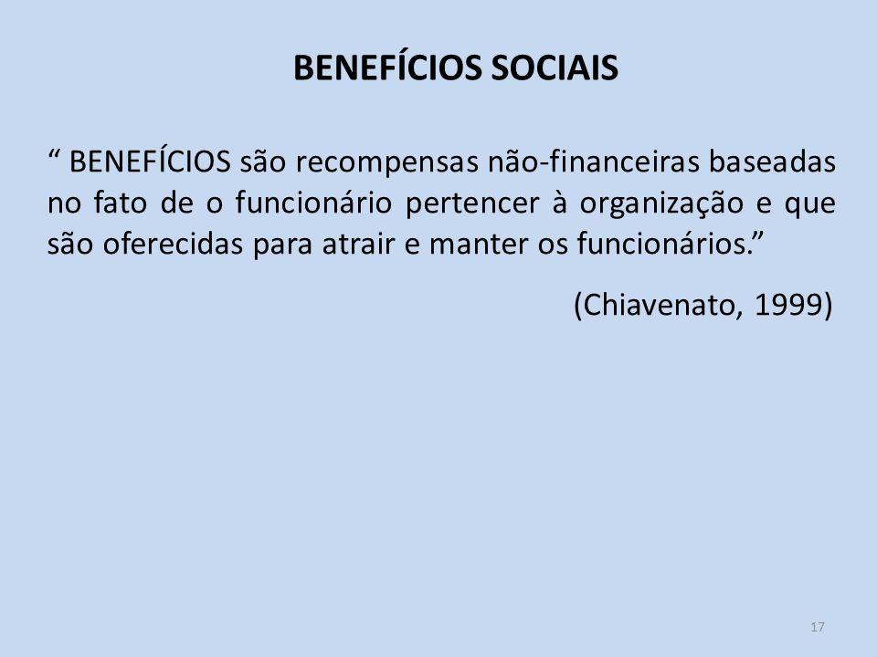 17 BENEFÍCIOS SOCIAIS BENEFÍCIOS são recompensas não-financeiras baseadas no fato de o funcionário pertencer à organização e que são oferecidas para a