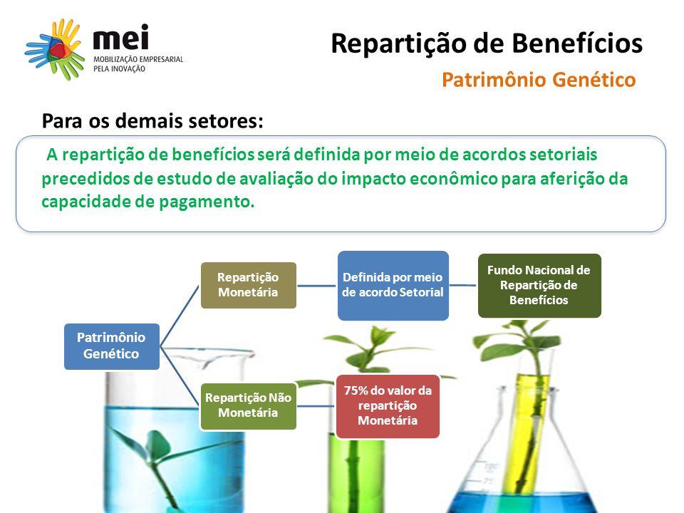 Repartição de Benefícios Para os demais setores: A repartição de benefícios será definida por meio de acordos setoriais precedidos de estudo de avaliação do impacto econômico para aferição da capacidade de pagamento.