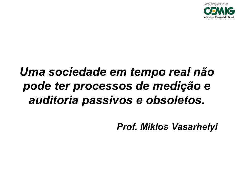 Classificação: Público Uma sociedade em tempo real não pode ter processos de medição e auditoria passivos e obsoletos. Prof. Miklos Vasarhelyi