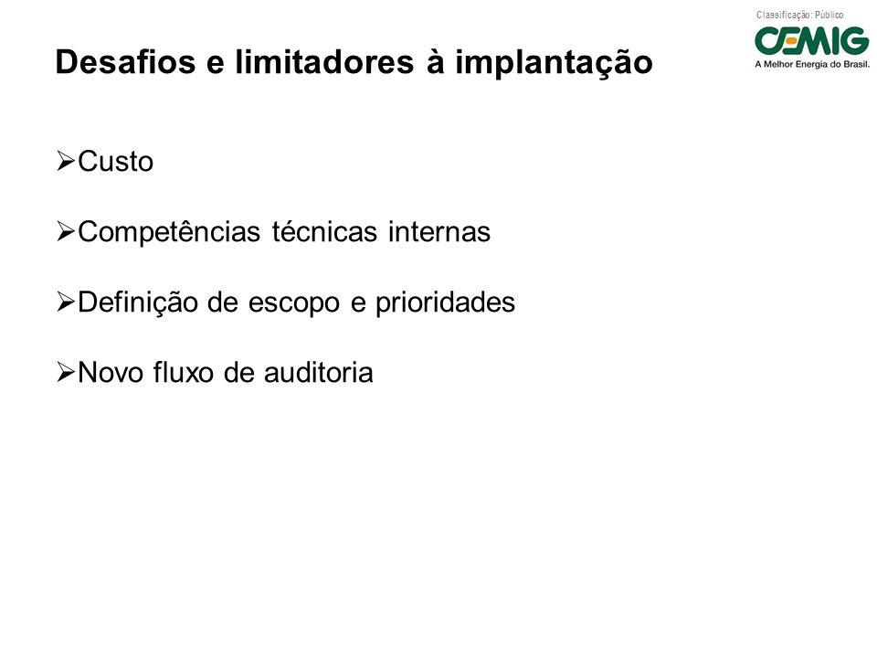 Classificação: Público Desafios e limitadores à implantação Custo Competências técnicas internas Definição de escopo e prioridades Novo fluxo de audit