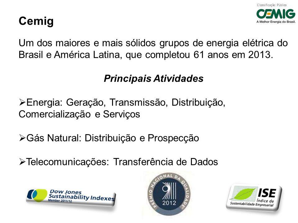 Classificação: Público Cemig Um dos maiores e mais sólidos grupos de energia elétrica do Brasil e América Latina, que completou 61 anos em 2013. Princ