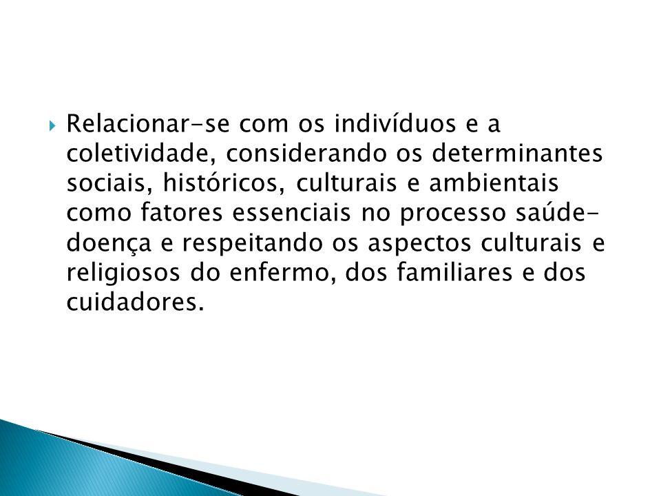 Relacionar-se com os indivíduos e a coletividade, considerando os determinantes sociais, históricos, culturais e ambientais como fatores essenciais no