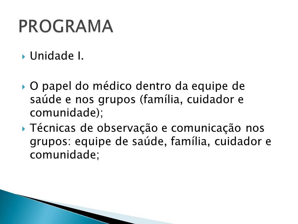 Unidade I. O papel do médico dentro da equipe de saúde e nos grupos (família, cuidador e comunidade); Técnicas de observação e comunicação nos grupos: