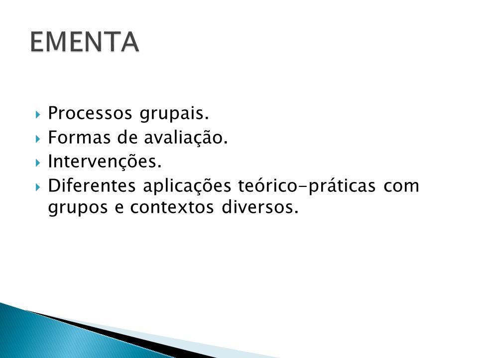 Processos grupais. Formas de avaliação. Intervenções. Diferentes aplicações teórico-práticas com grupos e contextos diversos.