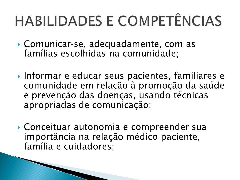 Comunicarse, adequadamente, com as famílias escolhidas na comunidade; Informar e educar seus pacientes, familiares e comunidade em relação à promoção