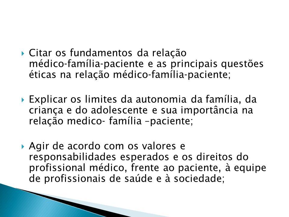 Citar os fundamentos da relação médicofamíliapaciente e as principais questões éticas na relação médicofamíliapaciente; Explicar os limites da autonom