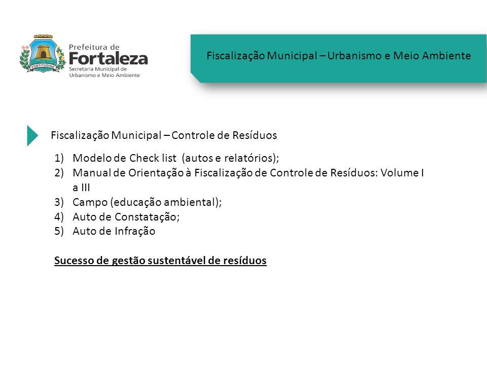 Fiscalização Municipal – Urbanismo e Meio Ambiente Fiscalização Municipal – Controle de Resíduos 1)Modelo de Check list (autos e relatórios); 2)Manual