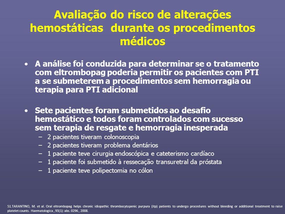 Avaliação do risco de alterações hemostáticas durante os procedimentos médicos A análise foi conduzida para determinar se o tratamento com eltrombopag