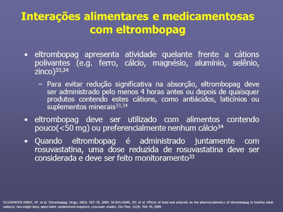 Interações alimentares e medicamentosas com eltrombopag eltrombopag apresenta atividade quelante frente a cátions polivantes (e.g. ferro, cálcio, magn