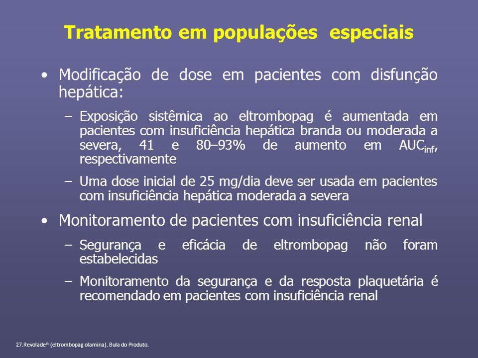 Tratamento em populações especiais Modificação de dose em pacientes com disfunção hepática: –Exposição sistêmica ao eltrombopag é aumentada em pacient