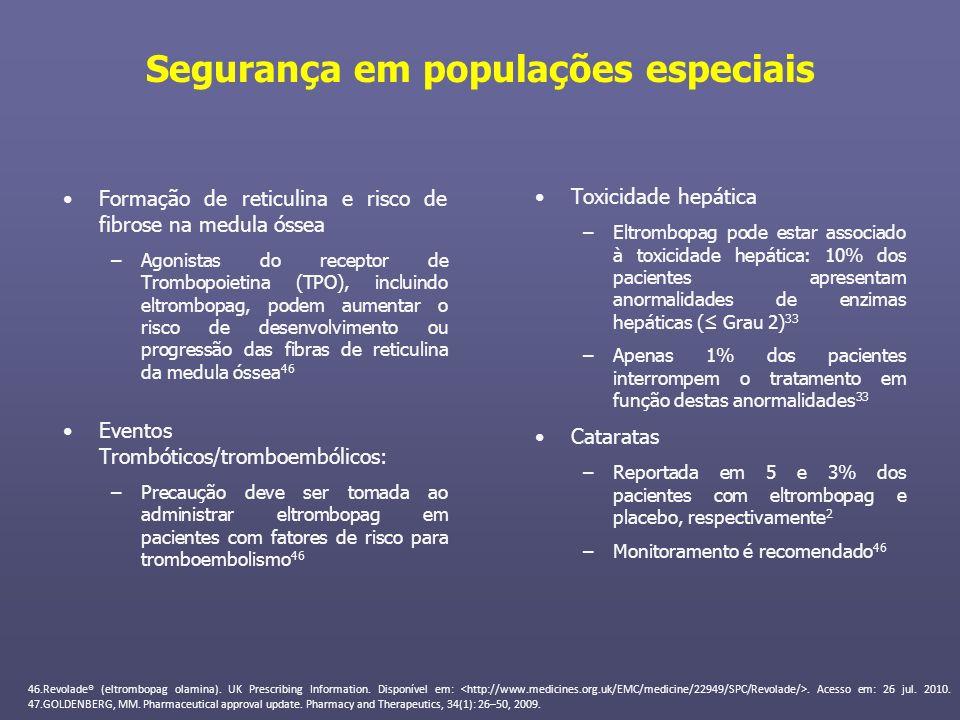 Segurança em populações especiais Formação de reticulina e risco de fibrose na medula óssea –Agonistas do receptor de Trombopoietina (TPO), incluindo