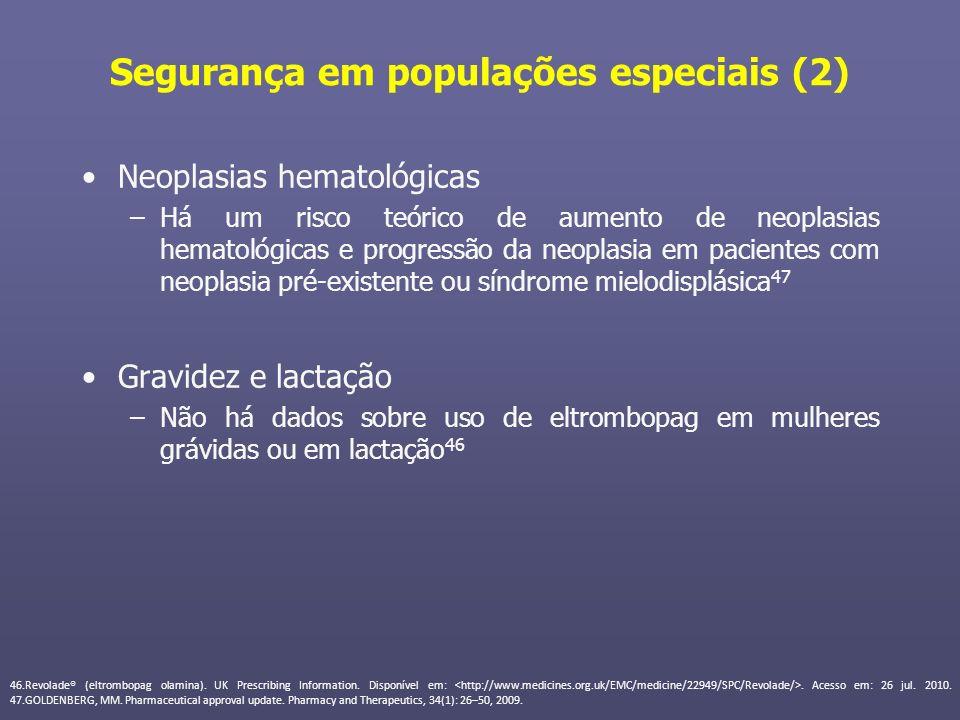 Segurança em populações especiais (2) Neoplasias hematológicas –Há um risco teórico de aumento de neoplasias hematológicas e progressão da neoplasia e