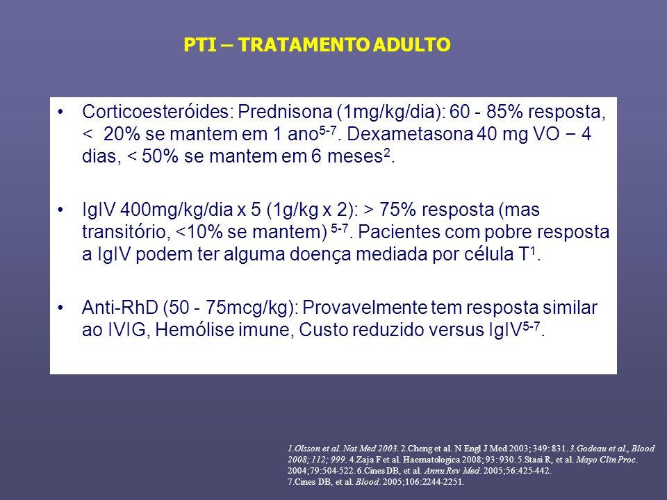 Corticoester ó ides: Prednisona (1mg/kg/dia): 60 - 85% resposta, < 20% se mantem em 1 ano 5-7. Dexametasona 40 mg VO – 4 dias, < 50% se mantem em 6 me