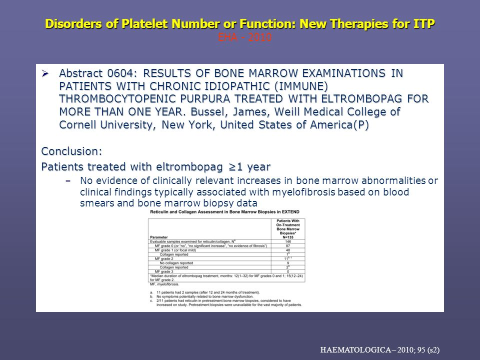 Disorders of Platelet Number or Function: New Therapies for ITP Disorders of Platelet Number or Function: New Therapies for ITP EHA - 2010 Abstract 06