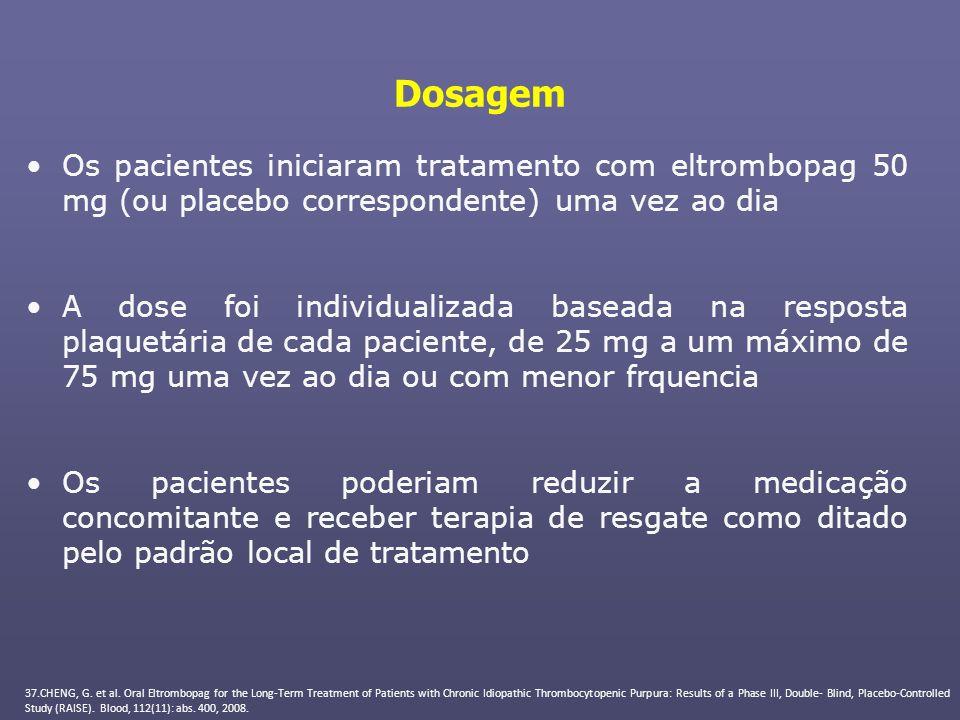 Dosagem Os pacientes iniciaram tratamento com eltrombopag 50 mg (ou placebo correspondente) uma vez ao dia A dose foi individualizada baseada na respo