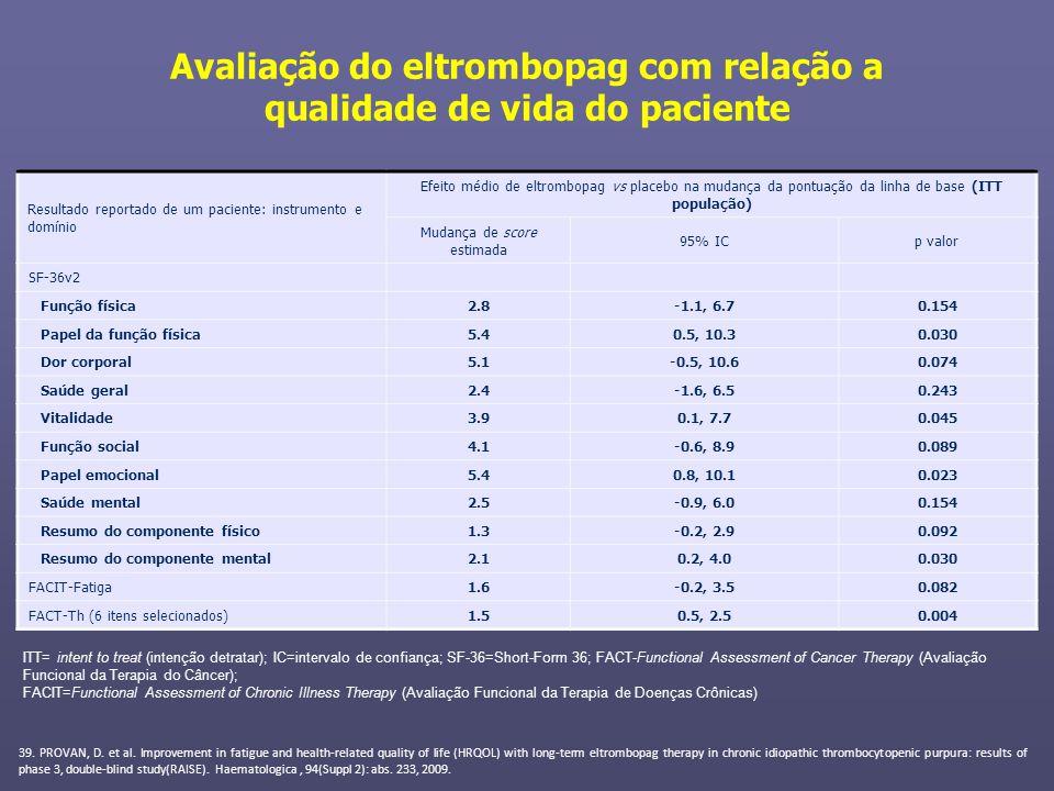Avaliação do eltrombopag com relação a qualidade de vida do paciente 39. PROVAN, D. et al. Improvement in fatigue and health-related quality of life (