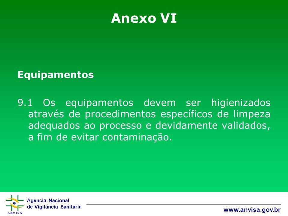 Agência Nacional de Vigilância Sanitária www.anvisa.gov.br Anexo VI Equipamentos 9.1 Os equipamentos devem ser higienizados através de procedimentos e