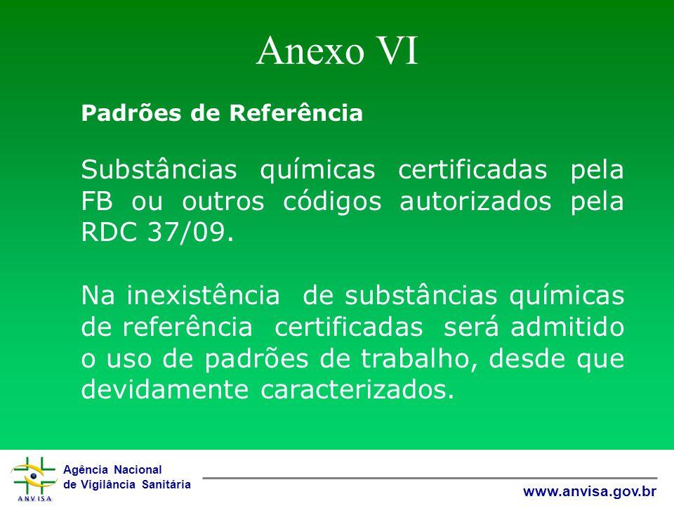 Agência Nacional de Vigilância Sanitária www.anvisa.gov.br Anexo VI Padrões de Referência Substâncias químicas certificadas pela FB ou outros códigos
