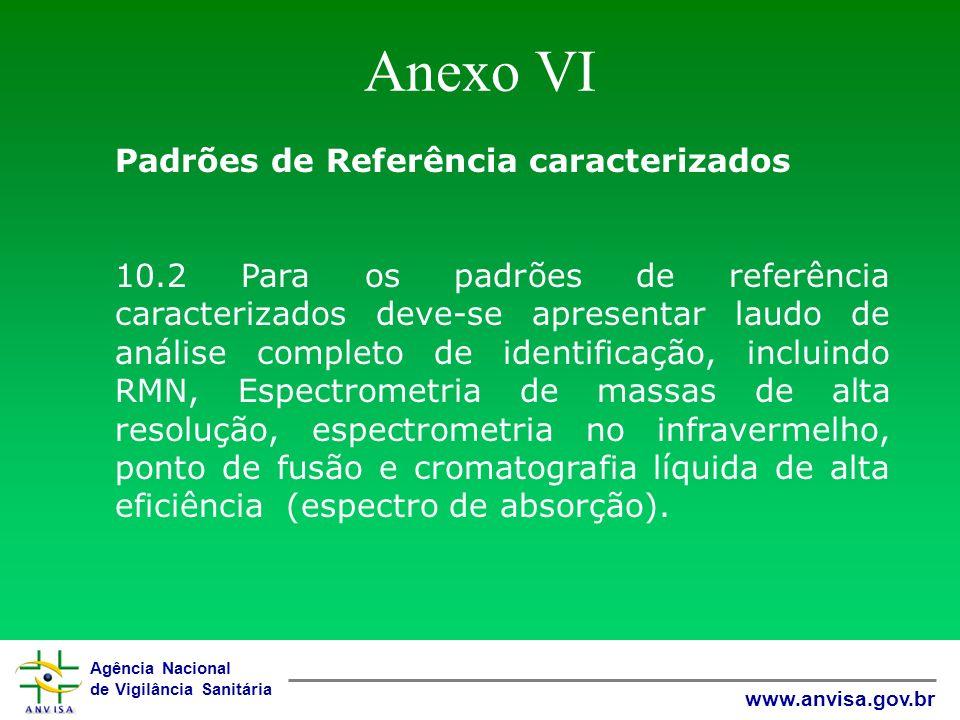 Agência Nacional de Vigilância Sanitária www.anvisa.gov.br Anexo VI Padrões de Referência caracterizados 10.2 Para os padrões de referência caracteriz