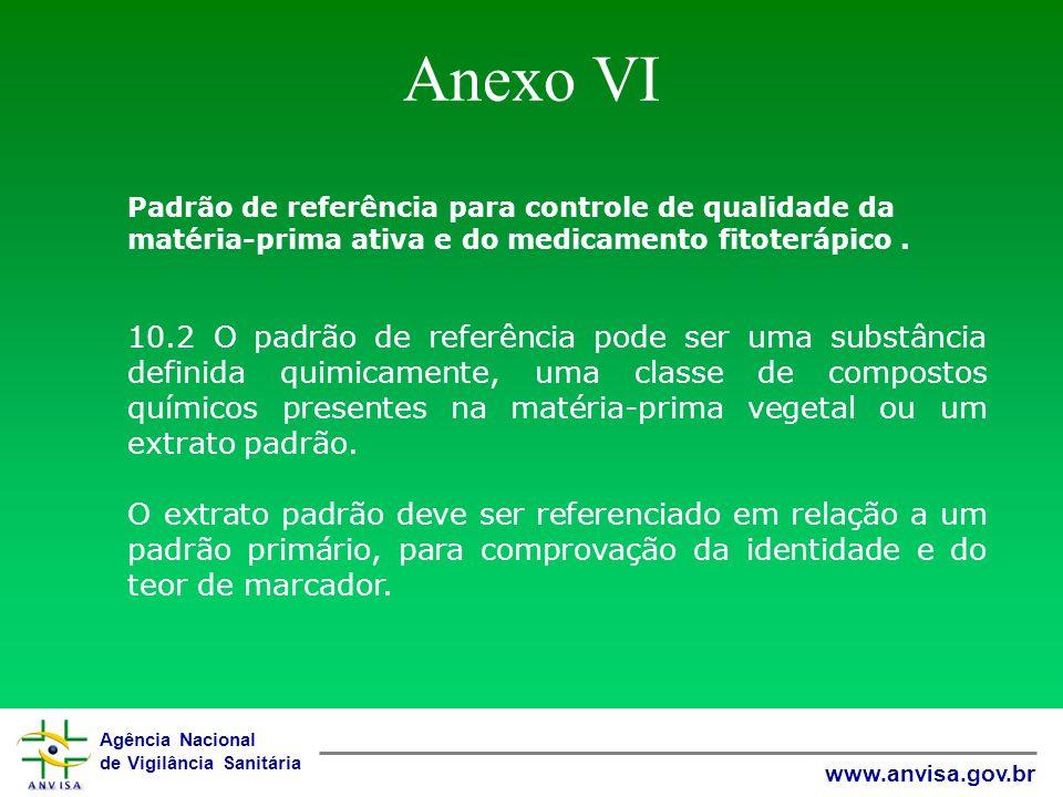 Agência Nacional de Vigilância Sanitária www.anvisa.gov.br Anexo VI Padrão de referência para controle de qualidade da matéria-prima ativa e do medica