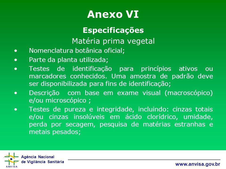 Agência Nacional de Vigilância Sanitária www.anvisa.gov.br Anexo VI Especificações Matéria prima vegetal Nomenclatura botânica oficial; Parte da plant