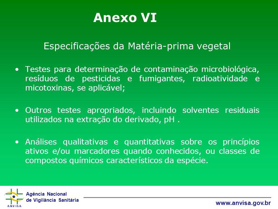Agência Nacional de Vigilância Sanitária www.anvisa.gov.br Anexo VI Especificações da Matéria-prima vegetal Testes para determinação de contaminação m