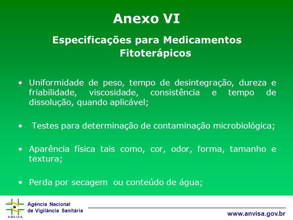 Agência Nacional de Vigilância Sanitária www.anvisa.gov.br Anexo VI Especificações para Medicamentos Fitoterápicos Uniformidade de peso, tempo de desi