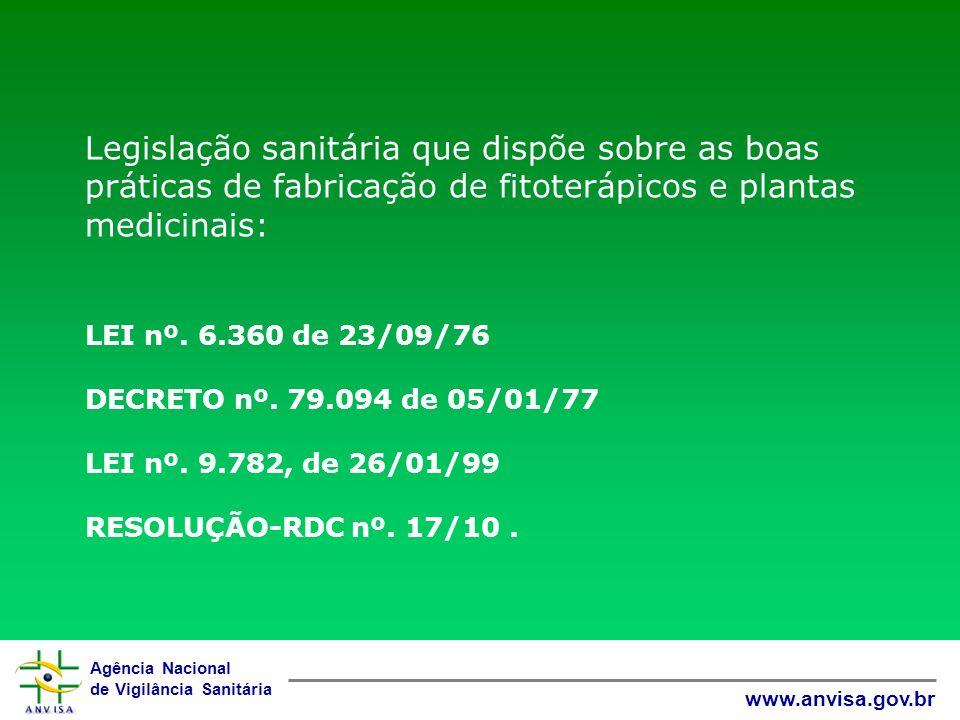 Agência Nacional de Vigilância Sanitária www.anvisa.gov.br Legislação sanitária que dispõe sobre as boas práticas de fabricação de fitoterápicos e pla