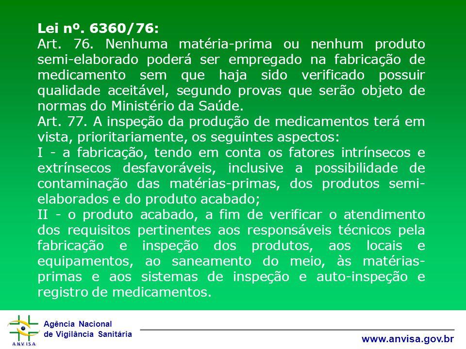 Agência Nacional de Vigilância Sanitária www.anvisa.gov.br Lei nº. 6360/76: Art. 76. Nenhuma matéria-prima ou nenhum produto semi-elaborado poderá ser