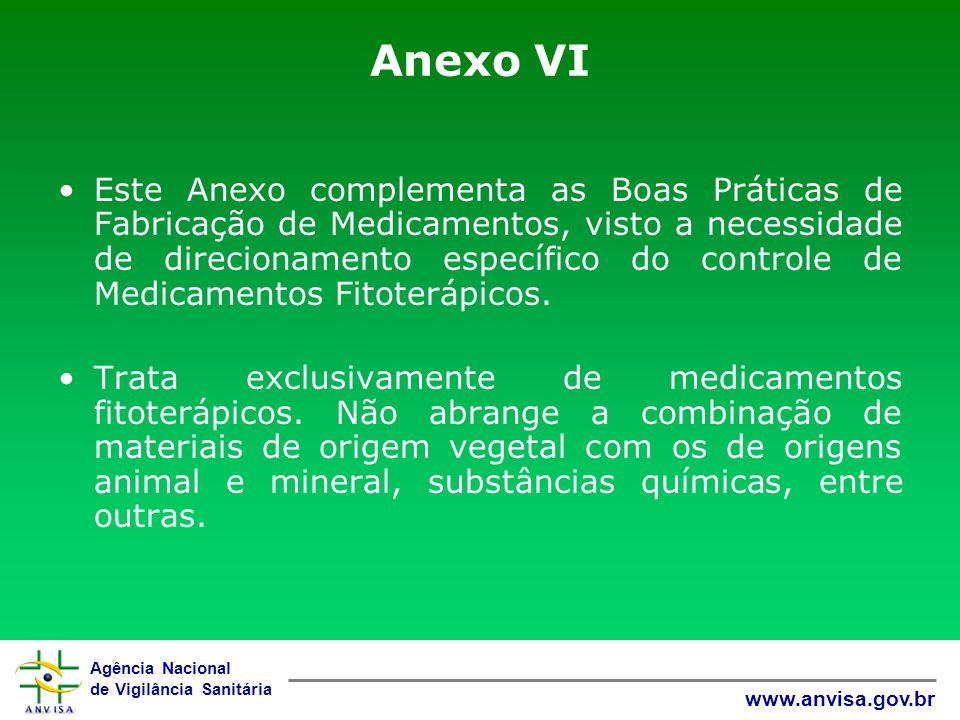 Agência Nacional de Vigilância Sanitária www.anvisa.gov.br Anexo VI Este Anexo complementa as Boas Práticas de Fabricação de Medicamentos, visto a nec