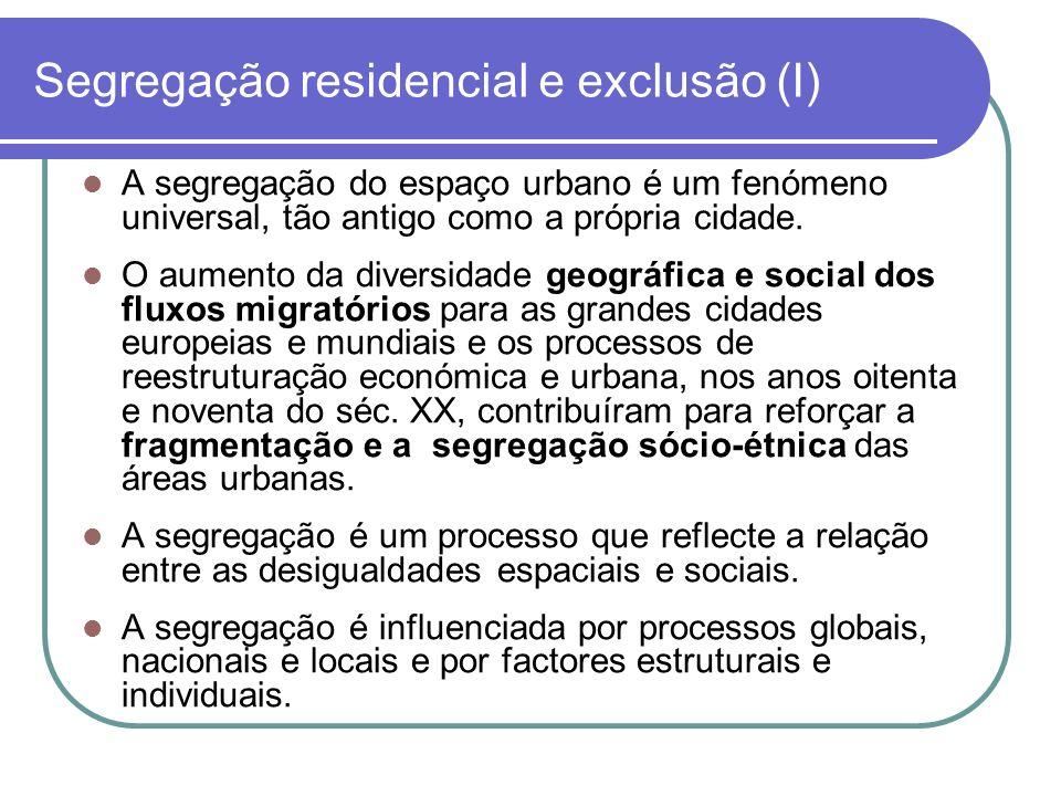 Segregação residencial e exclusão (I) A segregação do espaço urbano é um fenómeno universal, tão antigo como a própria cidade. O aumento da diversidad