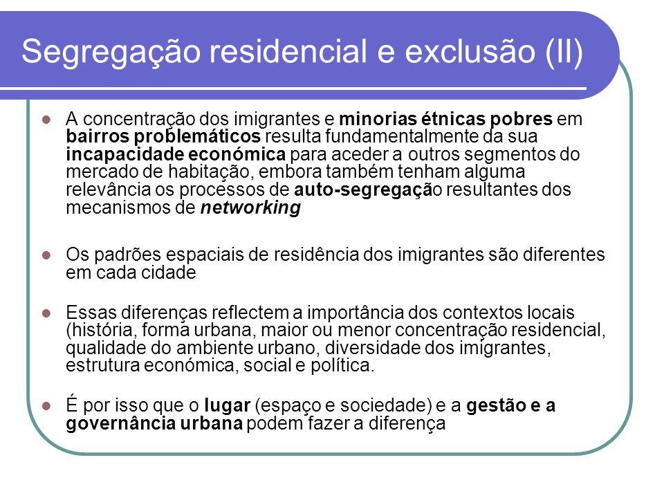 A concentração dos imigrantes e minorias étnicas pobres em bairros problemáticos resulta fundamentalmente da sua incapacidade económica para aceder a