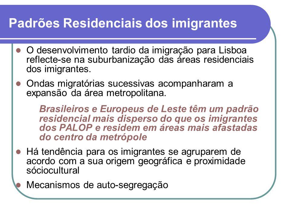 Padrões Residenciais dos imigrantes O desenvolvimento tardio da imigração para Lisboa reflecte-se na suburbanização das áreas residenciais dos imigran
