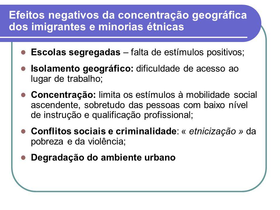 Efeitos negativos da concentração geográfica dos imigrantes e minorias étnicas Escolas segregadas – falta de estímulos positivos; Isolamento geográfic