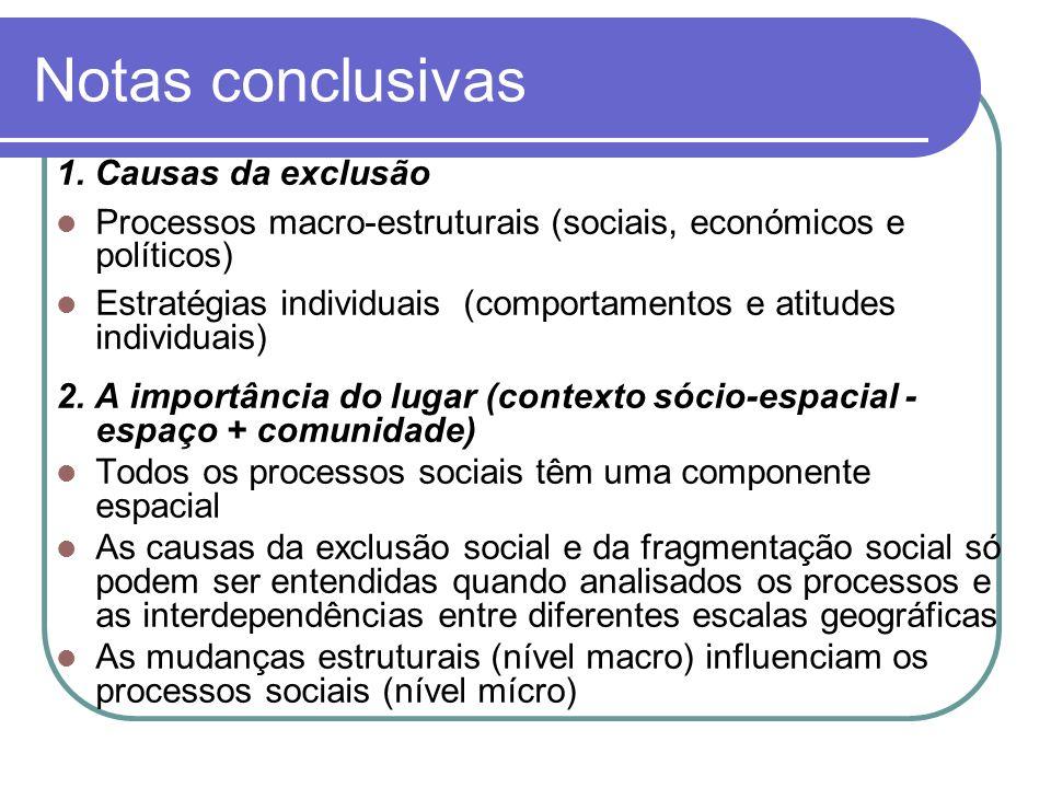 Notas conclusivas 1. Causas da exclusão Processos macro-estruturais (sociais, económicos e políticos) Estratégias individuais (comportamentos e atitud