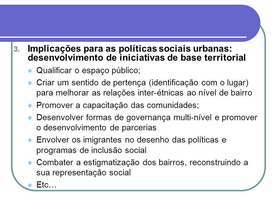 3. Implicações para as políticas sociais urbanas: desenvolvimento de iniciativas de base territorial Qualificar o espaço público; Criar um sentido de