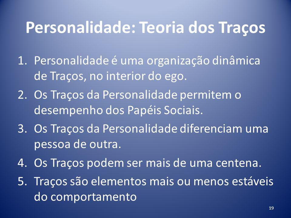 Personalidade: Teoria dos Traços 1.Personalidade é uma organização dinâmica de Traços, no interior do ego. 2.Os Traços da Personalidade permitem o des