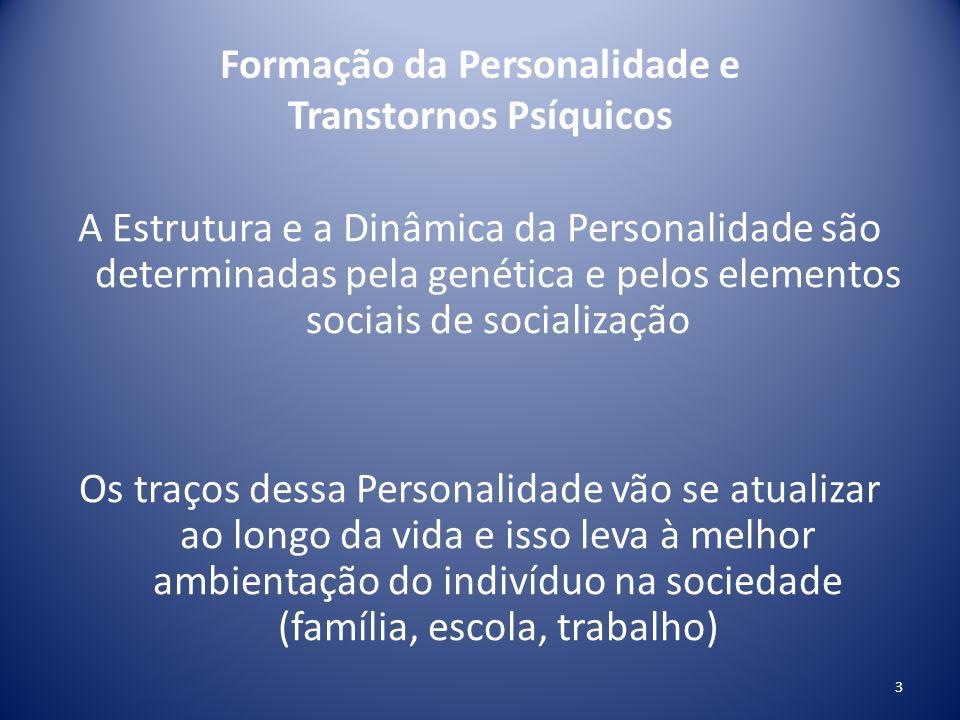 Formação da Personalidade e Transtornos Psíquicos A Estrutura e a Dinâmica da Personalidade são determinadas pela genética e pelos elementos sociais d