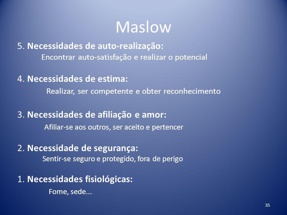 Maslow 5. Necessidades de auto-realização: Encontrar auto-satisfação e realizar o potencial 4. Necessidades de estima: Realizar, ser competente e obte